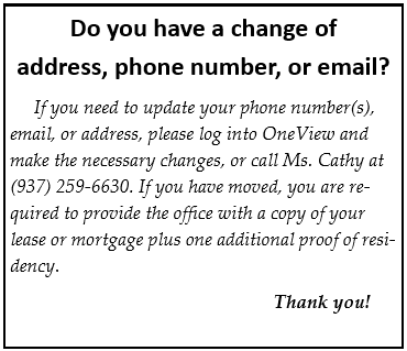 Do you have a change of address, phone number, or email?