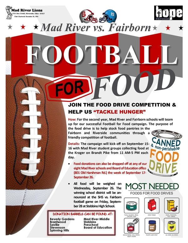 "JOIN THE FOOD DRIVE COMPETITION &  HELP US ""TACKLE HUNGER"""
