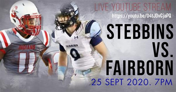 Please join us at 6:45PM this Friday night (September 25, 2020) as Stebbins takes on our rival, Fair